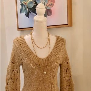 The Limited Pretty V-Neck Cableknit Pullover